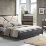 Adrianna 20950 Walnut Finish Cream Fabric Bedroom Set Contemporary Basket Drawer Bed Set