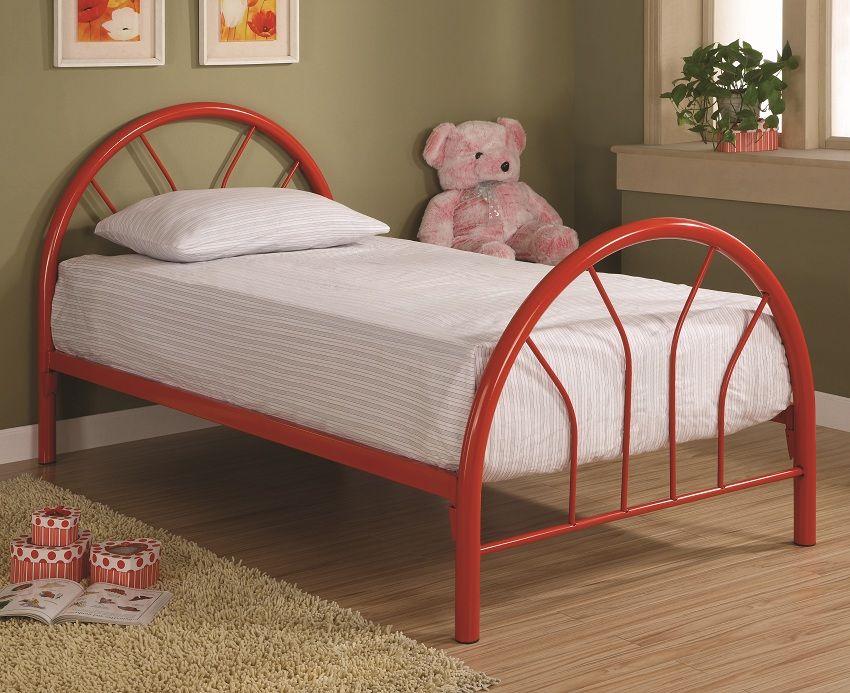 Furniture Outlet Twin Red Metal Frame Bed Kids furniture