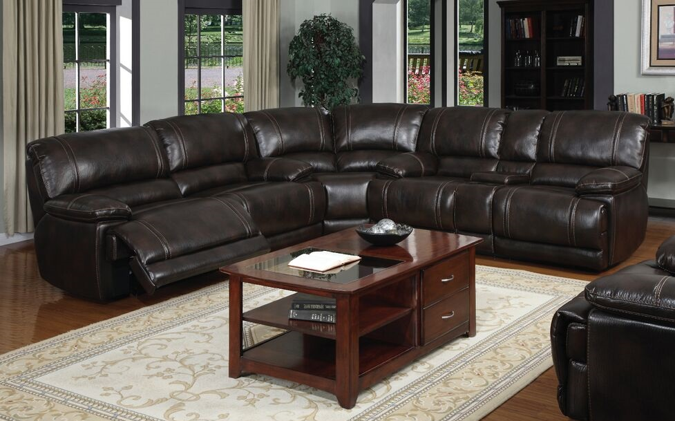 E motion Brown Power Reclining sectional with console and storage Kian USA