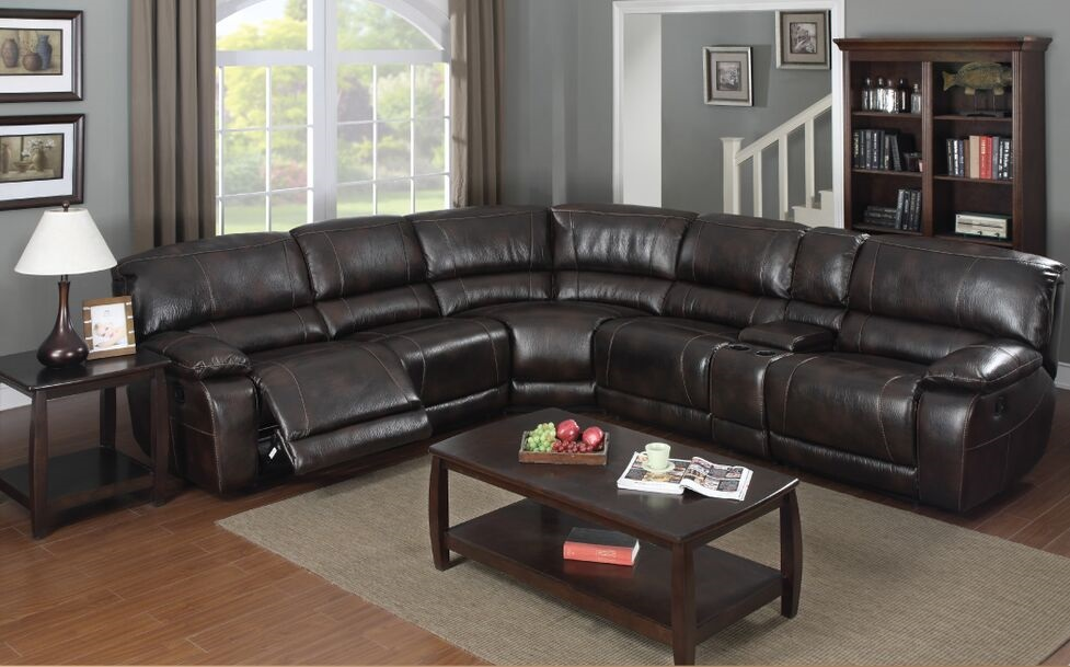 E motion dark brown 3 recliner sectional sofa 3503 with console and storage Kian san diego ca