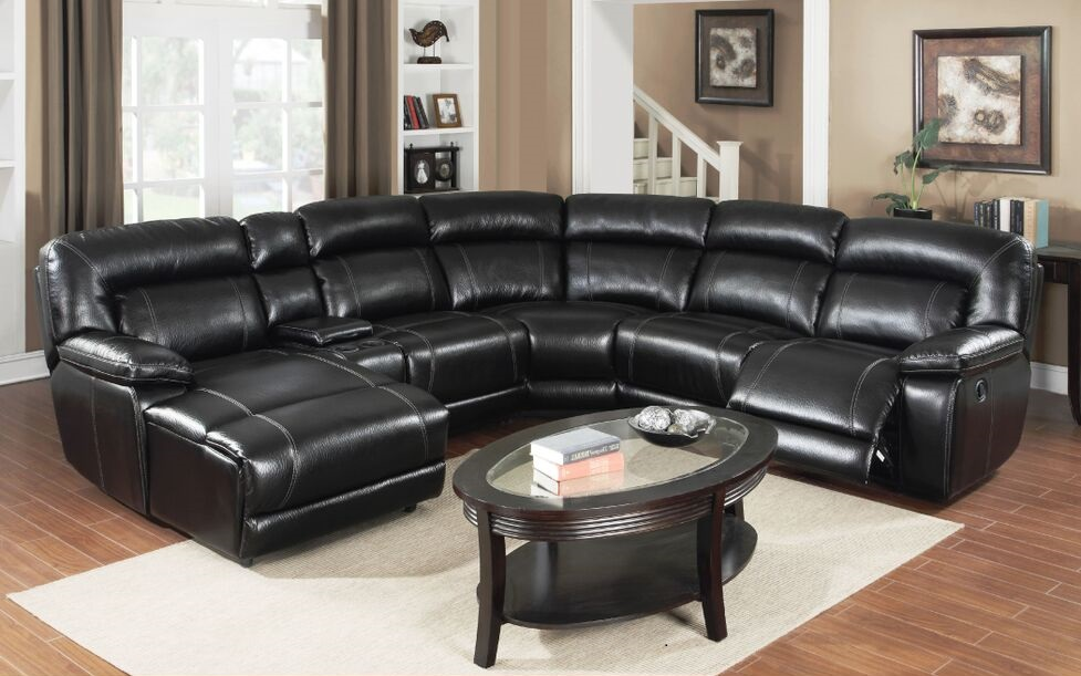 E motion black reclining sectional sofa with chaise and