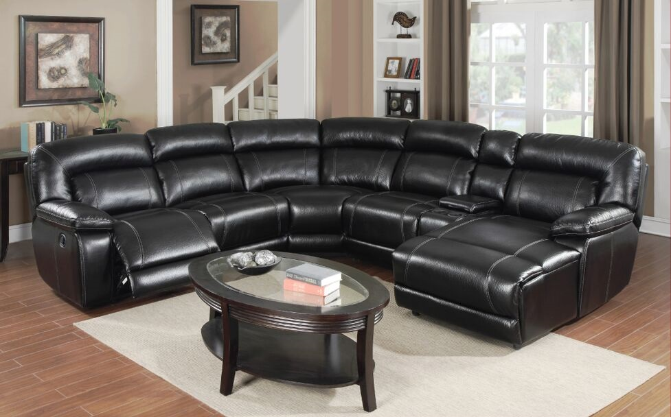 E motion Whittier black reclining sectional with chaise