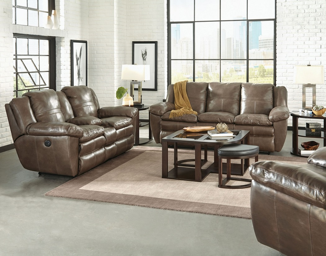 Aria Smoke Collection 419 Italian Top Grain Leather with Lay Flat Reclining and Comfort Gel