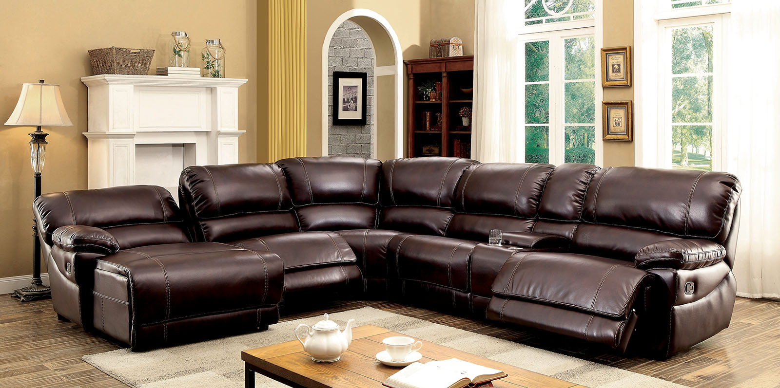 Furniture of America 6131BR Brown Reclining chaise console