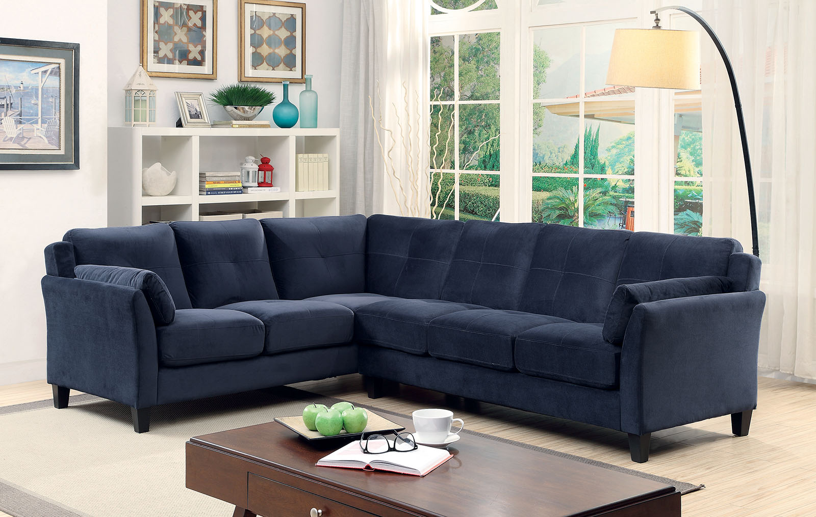 queen sleeper sofa sectionals wicker sets 6368nv nvay blue contemporary sectional furniture of ...