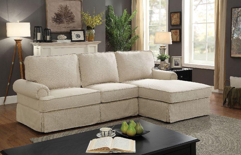 badalona 6377bg beige rolled arm t cushion sectional chaise sofa