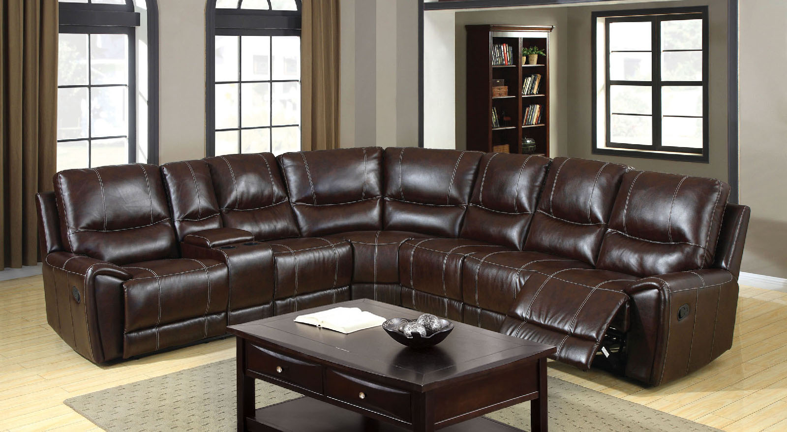 beach chairs with cup holders chair design love 6559 brown reclining console sectional sofa furniture of america los angeles, long beach, san ...