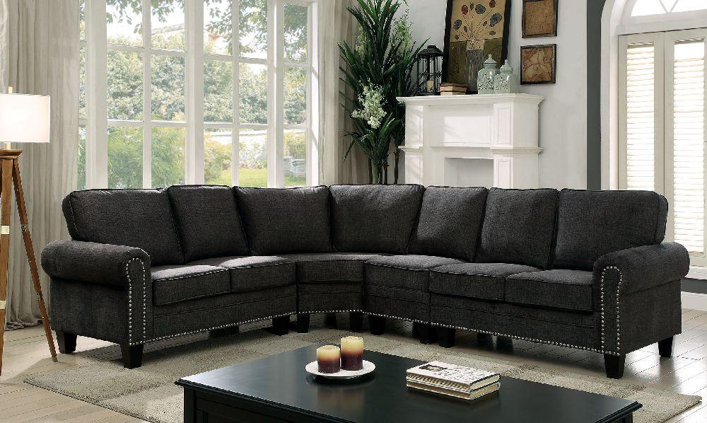 grey carleton nailhead sofa tufted sofas clearance elwick 6885 dark gray rolled arm trim sectional