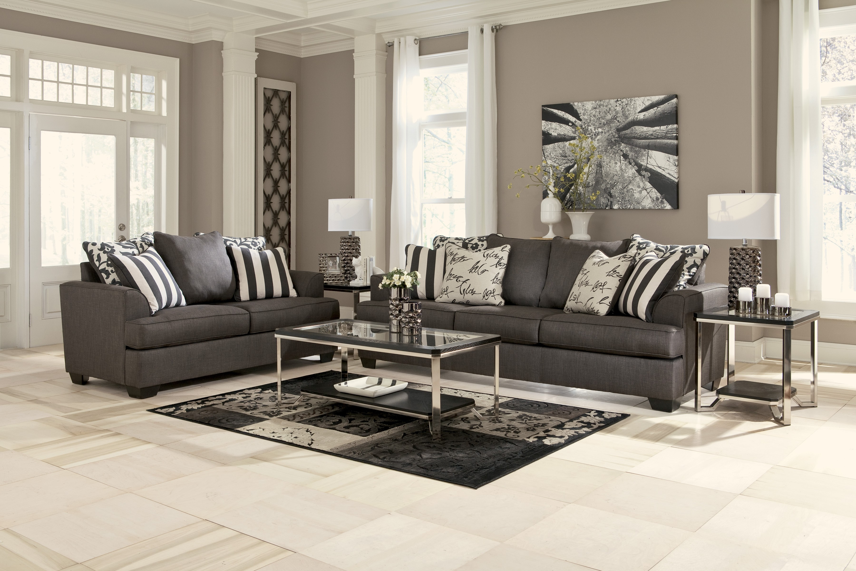 custom sofa los angeles ca leather repair in new jersey levon collection charcoal & loveseat set