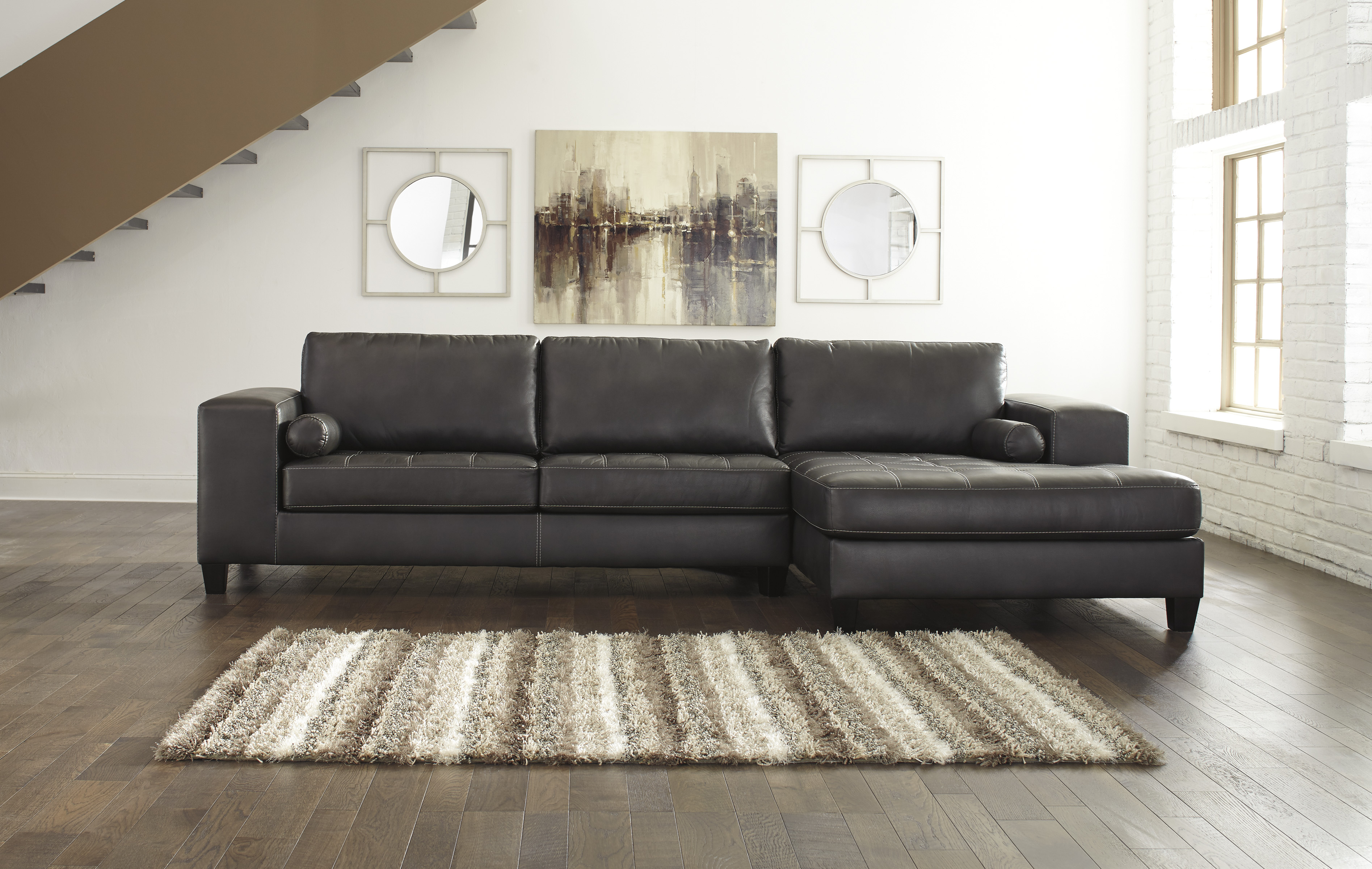 ashley leather sofa review how much to reupholster a cushion nokomis 87701-17 by furniture sectional faux ...
