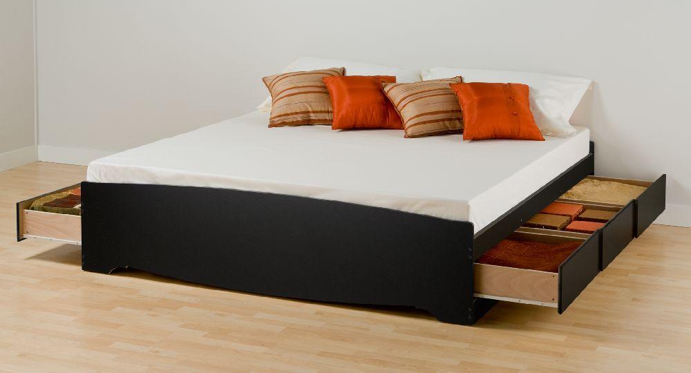 Prepac Black Eastern King Platform Storage Bed 6drawers