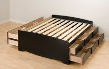 Prepac Black Tall Queen Platform Storage Bed 12-drawers