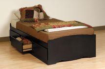 Prepac Black Twin Platform Storage Bed 3-drawers