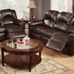Espresso Bonded Leather Reclining Sofa Loveseat Set Arm Tables Uk Poundex Kaley F6675 F6674