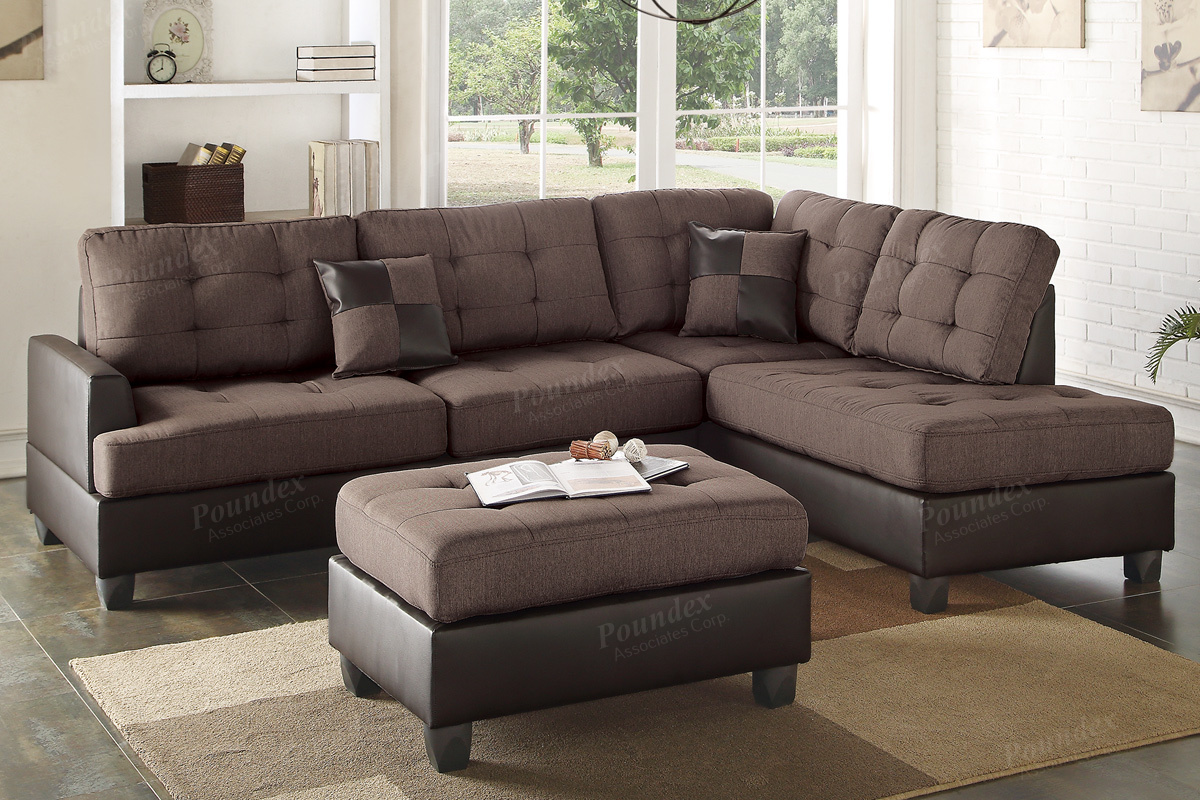 chocolate brown leather sectional sofa with 2 storage ottomans how to ship my poundex bobkona f6857 reversible chaise