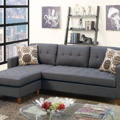 Pomona Sofa Window Fireplace Poundex Bobkona F7094 Blue Grey Retro Tufted Reversible