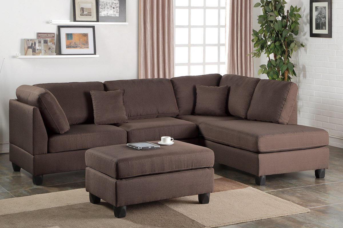 corey chocolate brown sectional sofa cheap 3 2 seater leather sofas poundex bobkona f7608 reversible chaise