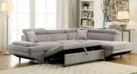 Furniture of America 6124GY Gray Modern Sleeper Sectional Sofa