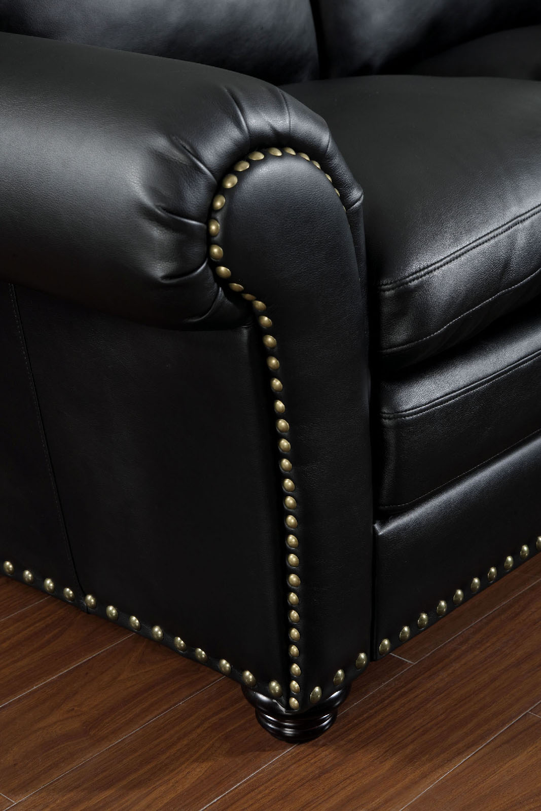 black leather sofa with nailheads l shaped malaysia 6808 nail head trim sectional furniture of