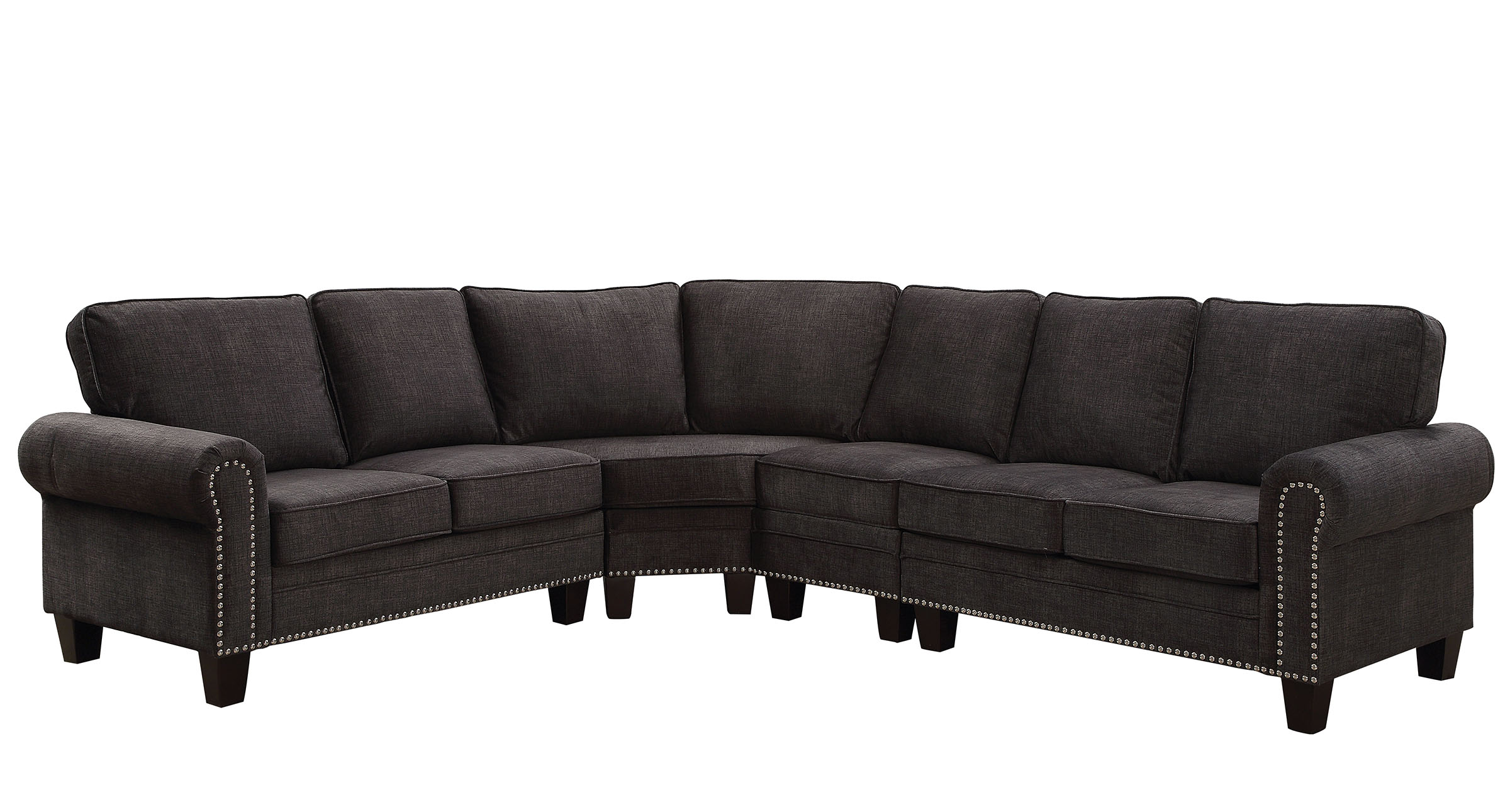 rolled arm sofa with nailhead trim 3 2 1 set designs elwick 6885 dark gray sectional