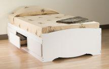 Prepac White Twin Platform Storage Bed 3-drawers