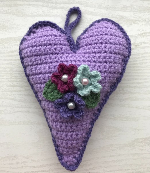 Crochet heart in purple