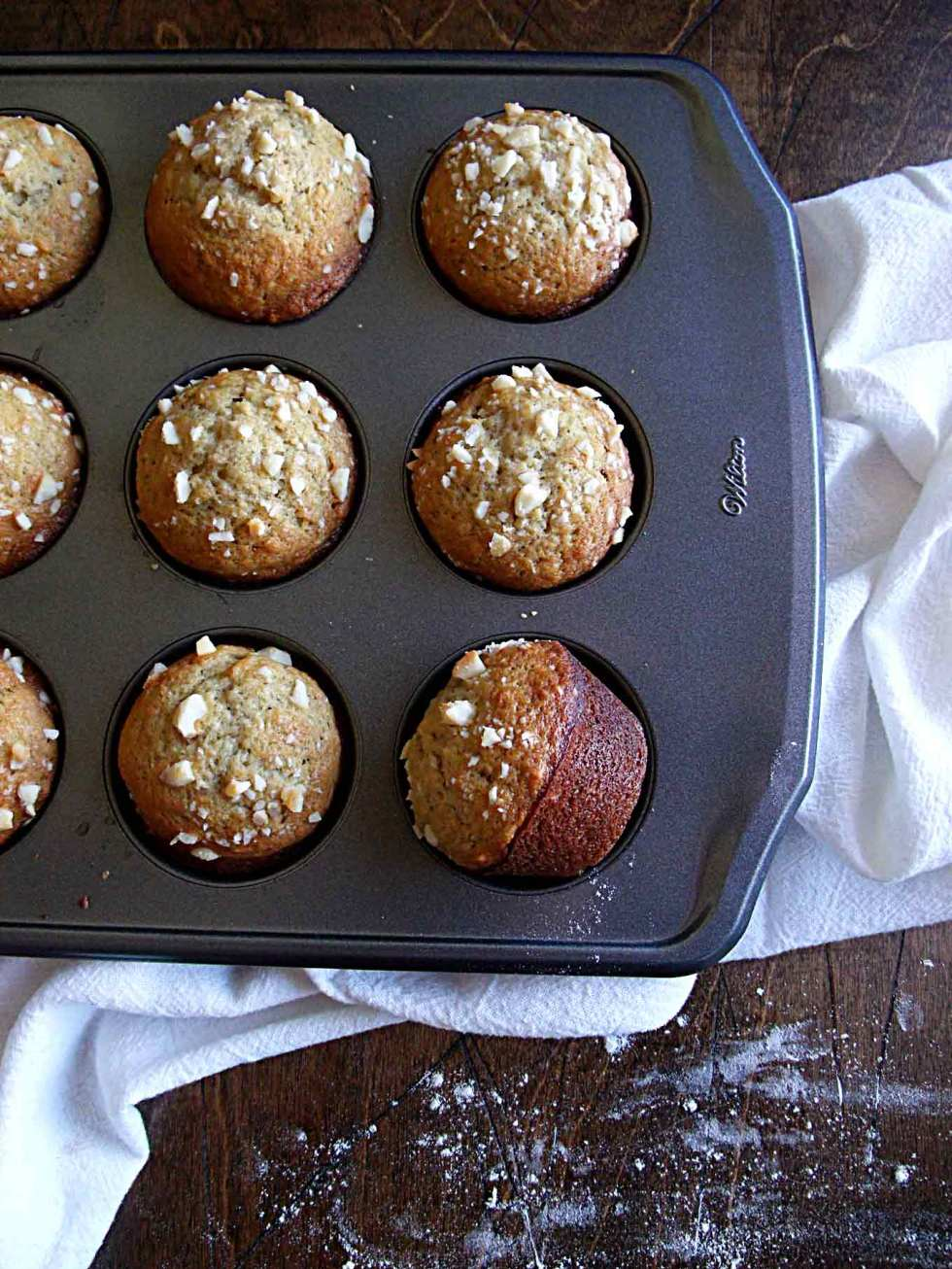 Banana Macadamia Nut Muffins - inspired by the muffins at Huggo's in Kona, Hawaii!