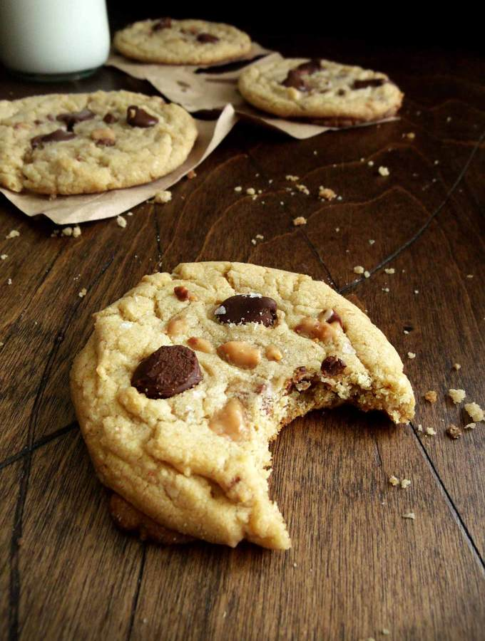 Salted Toffee Cookies with Chocolate Chips - salty, caramel-y, chocolatey, and gooey - everything a cookie is supposed to be!