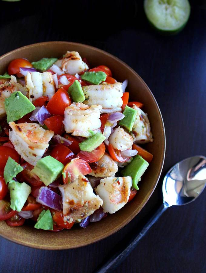 Shrimp Avocado Salad - This easy recipe is five ingredients, under 300 calories, and packs 26 grams of protein!