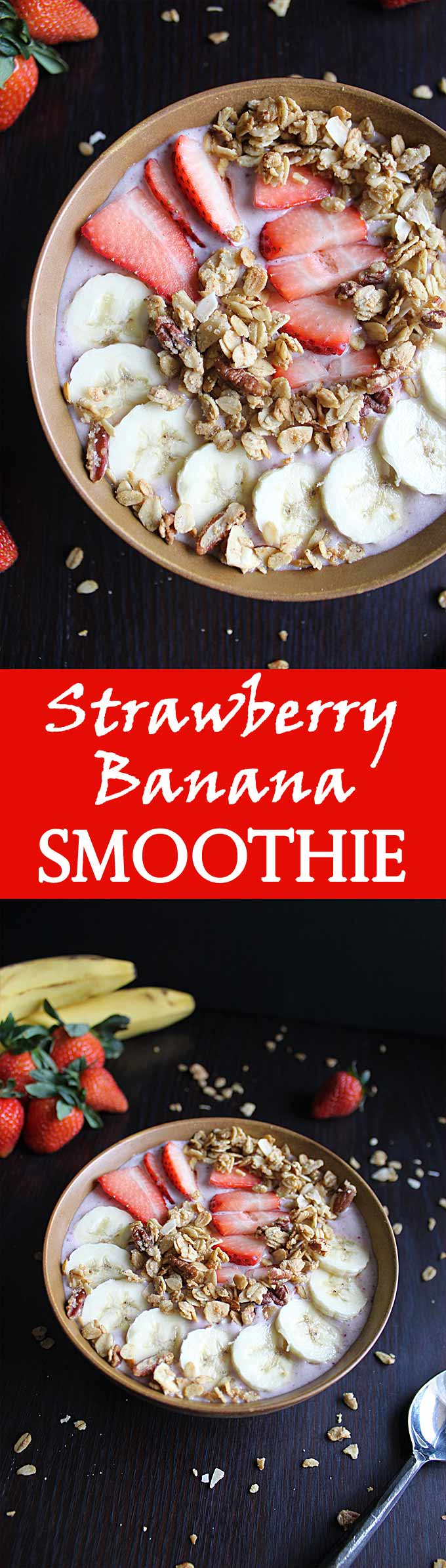 Healthy Strawberry Banana Smoothie Bowl   Protein Smoothie   Without Yogurt   Low Calorie   Breakfast   Post Workout   Recipe
