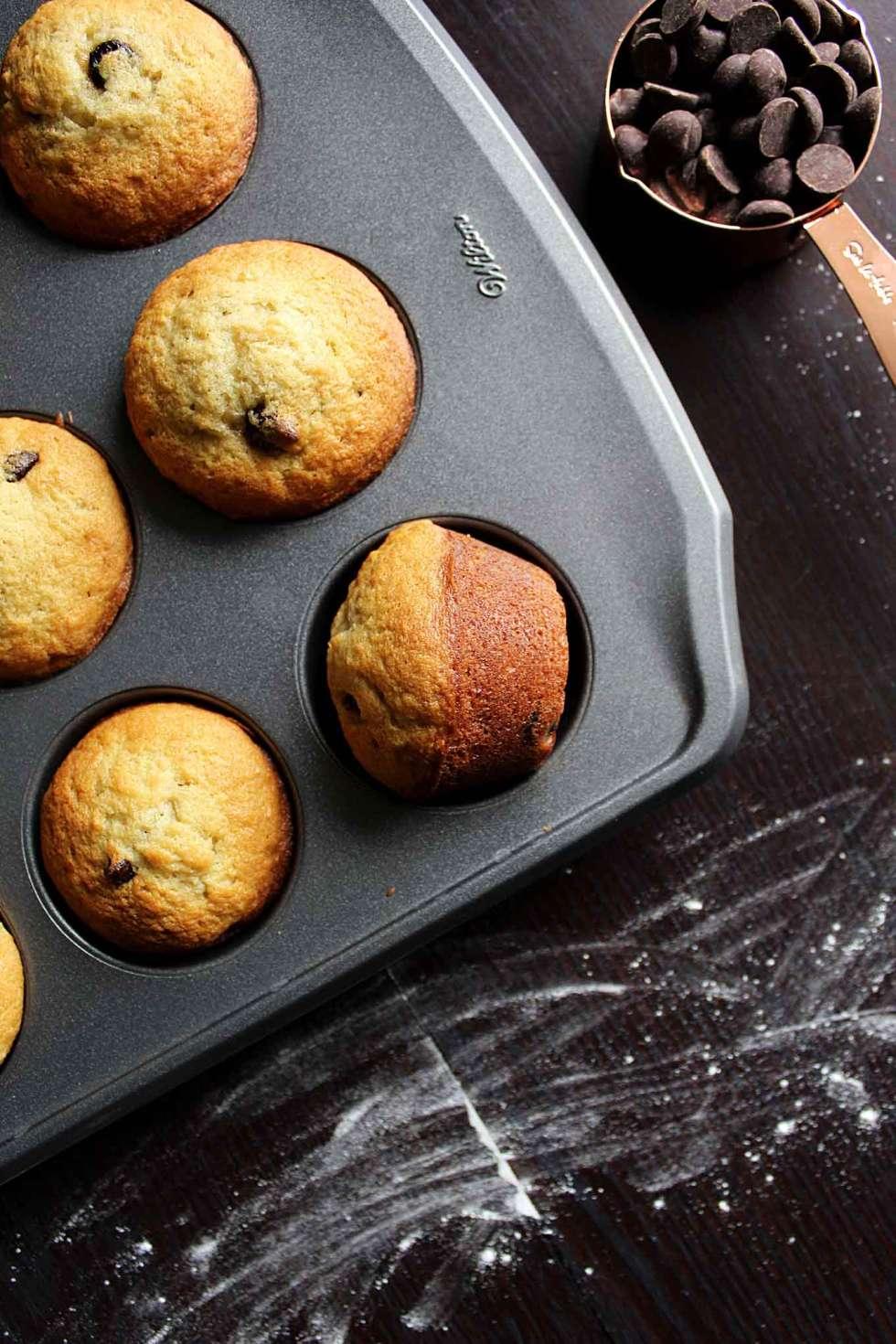 Easy Banana Chocolate Chip Muffins | Recipe | Mini Muffins | Banana Bread | Baked Goods | Breakfast | Brunch | Snacks | Healthy | Vegetarian