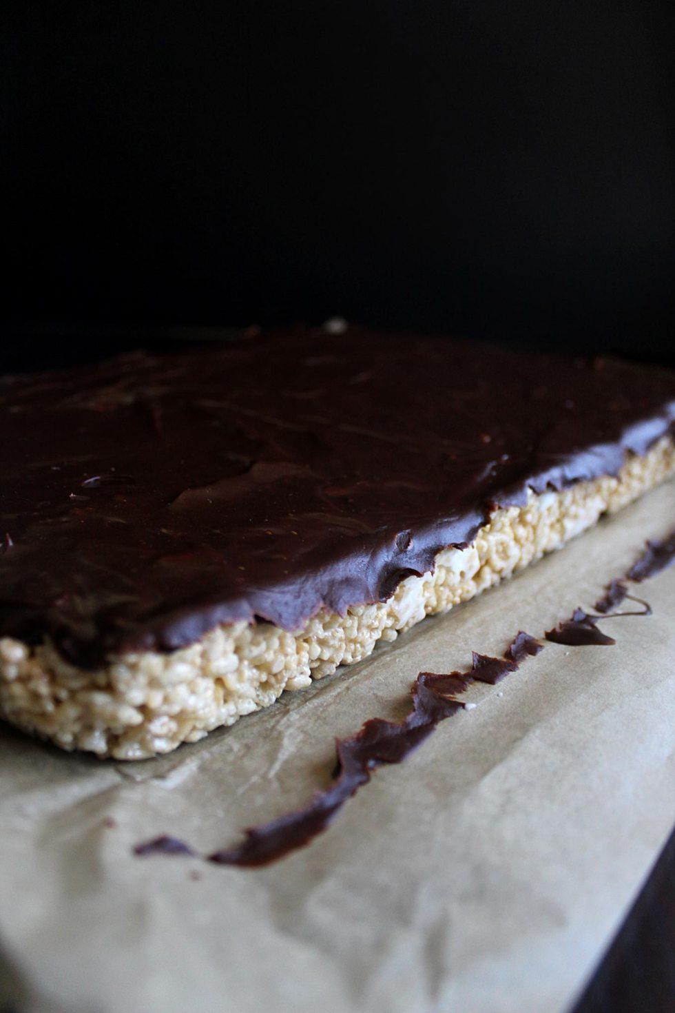 Rice Krispies with Chocolate | Soft Rice Crispy Treats | Marshmallow Rice Krispies | Kid Treats | Ganache | Easy Treats