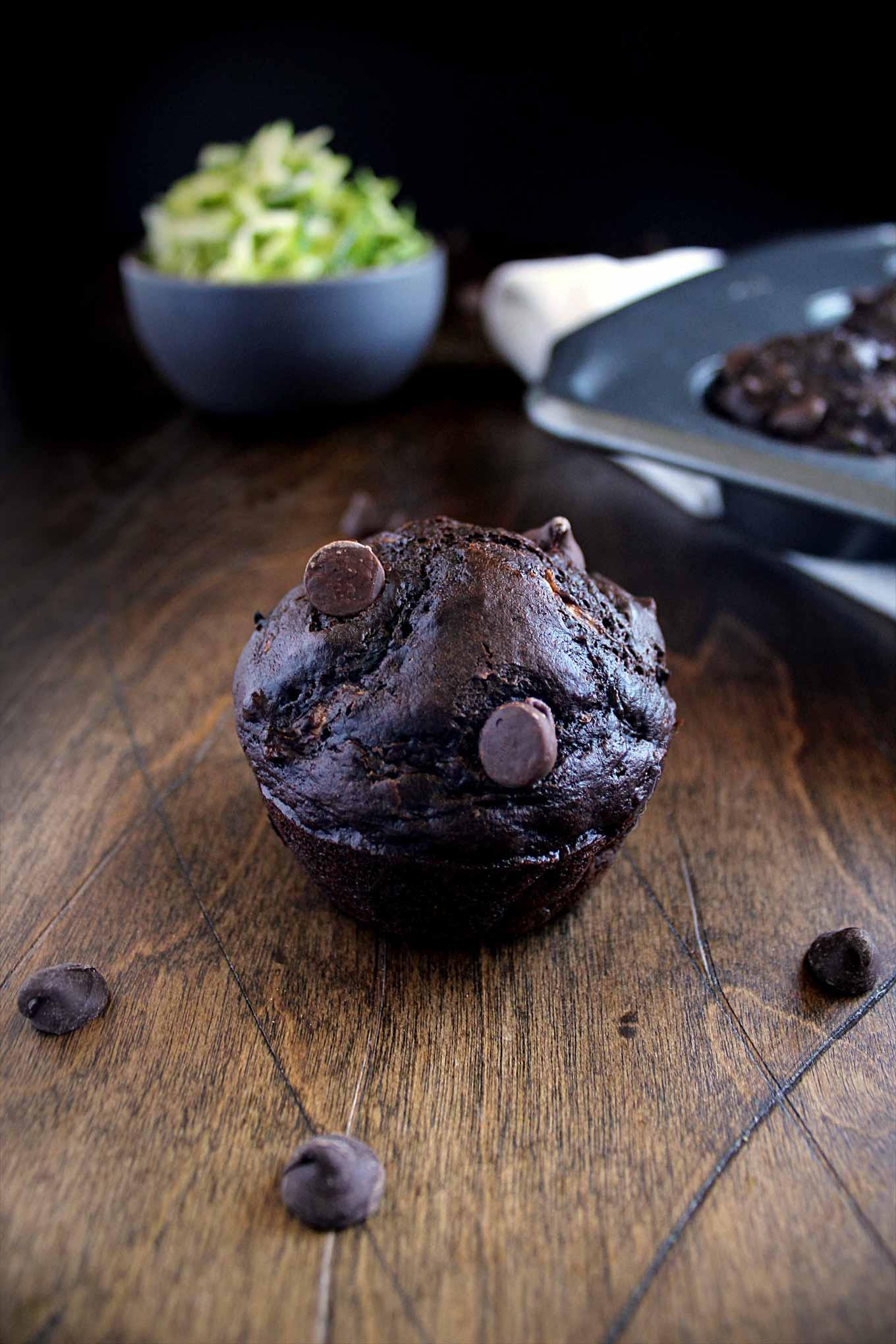 Healthy Chocolate Zucchini Muffins   wyldflour