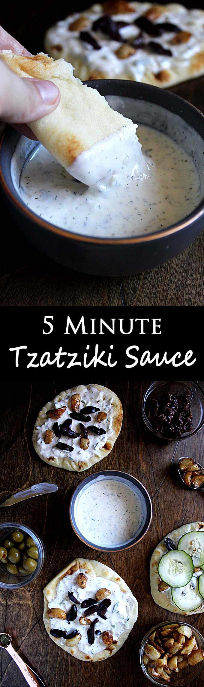 5 Minute Tzatziki Sauce | Greek Tzatziki Recipe | Cucumber | Dill | Easy | Gyros
