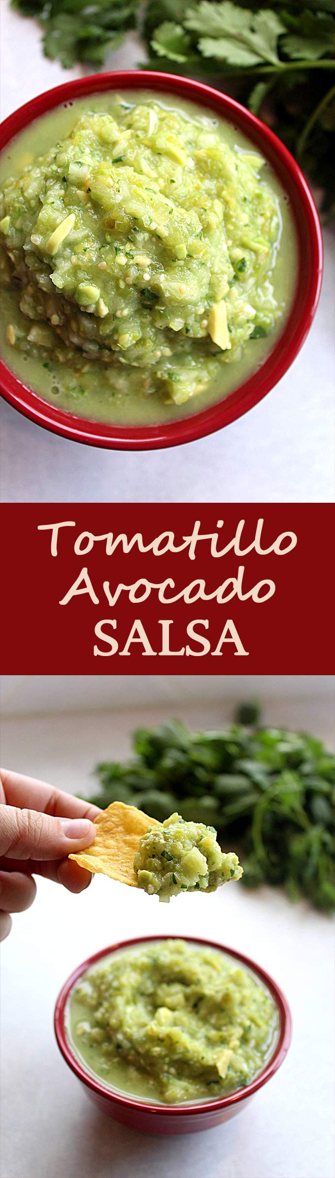 Roasted Tomatillo Avocado Salsa | Salsa Verde | Vegan | Vegetarian | Green Salsa | Tomatillo Sauce
