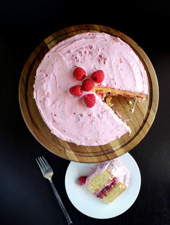 Lemon Cake with Raspberry Filling & Raspberry Buttercream