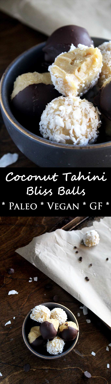 Coconut Tahini Bliss Balls | Paleo | Vegan | Energy Bites | Gluten-Free | Chocolate Dipped