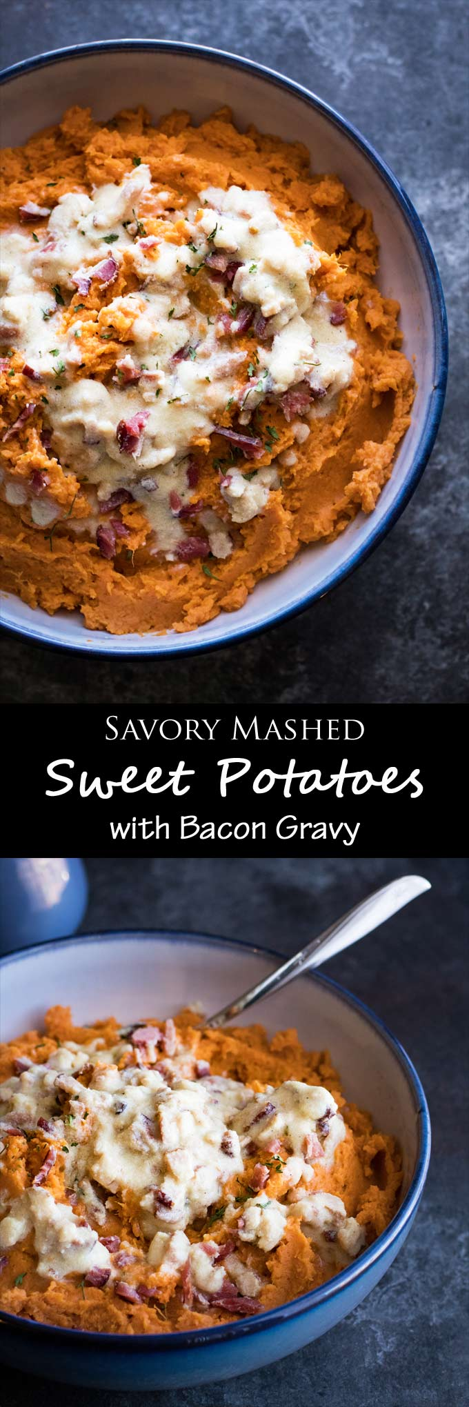 Savory Mashed Sweet Potatoes with Bacon Gravy - the perfect, healthy, paleo, and gluten-free side dish!