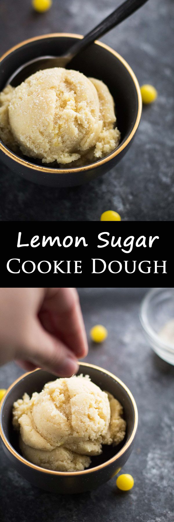 This eggless edible lemon sugar cookie dough is perfect, topped with sprinkles of sugar or lemon heads! My husband's personal favorite!