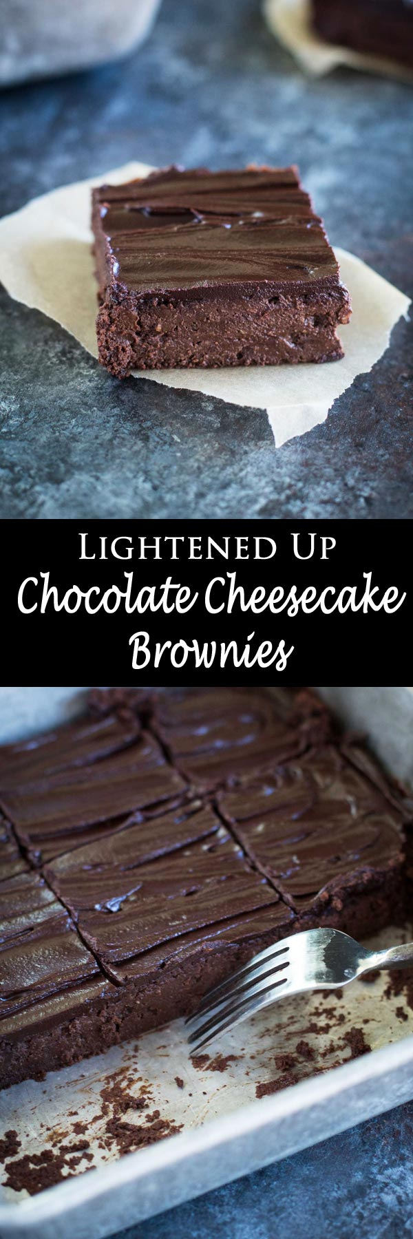 These dark chocolate cheesecake brownies are lightly sweetened with maple syrup, decadent, and rich. Refined sugar-free, gluten-free, butter- and oil-free!