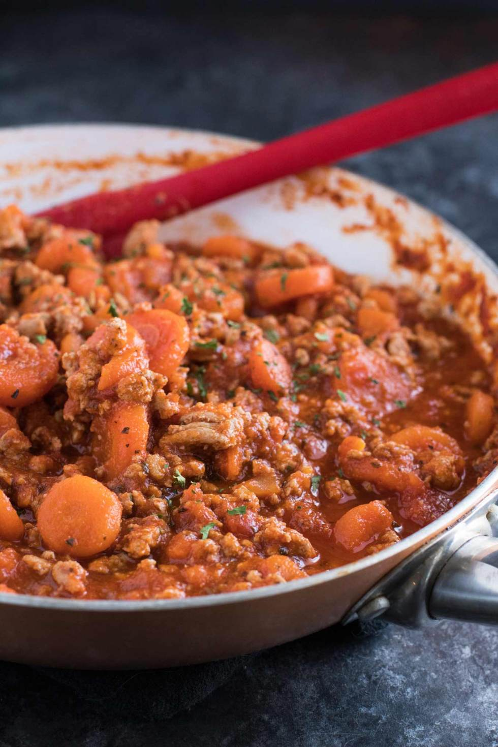 Close-up of turkey and carrot pasta sauce