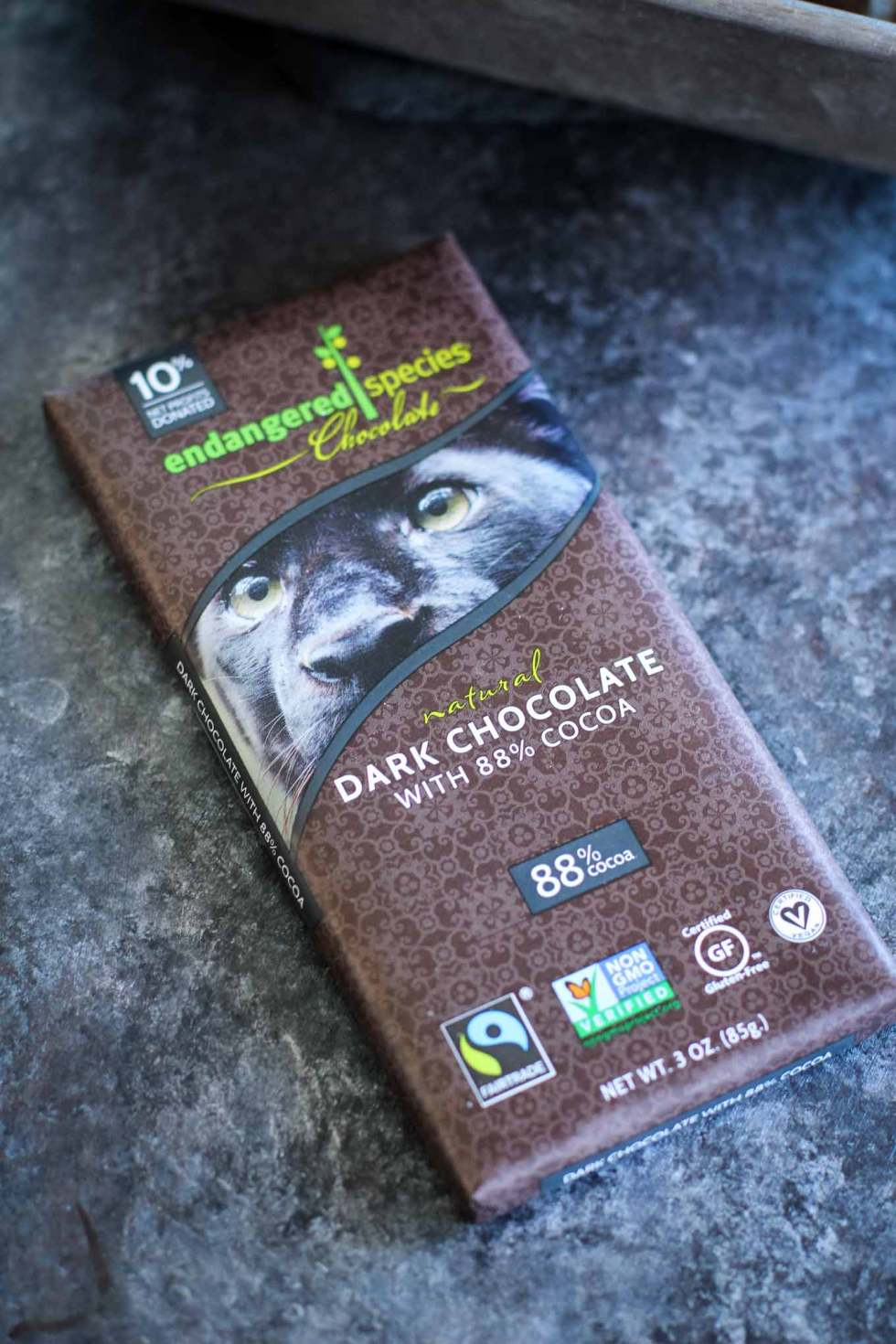 Close-up of Endangered Species dark chocolate.