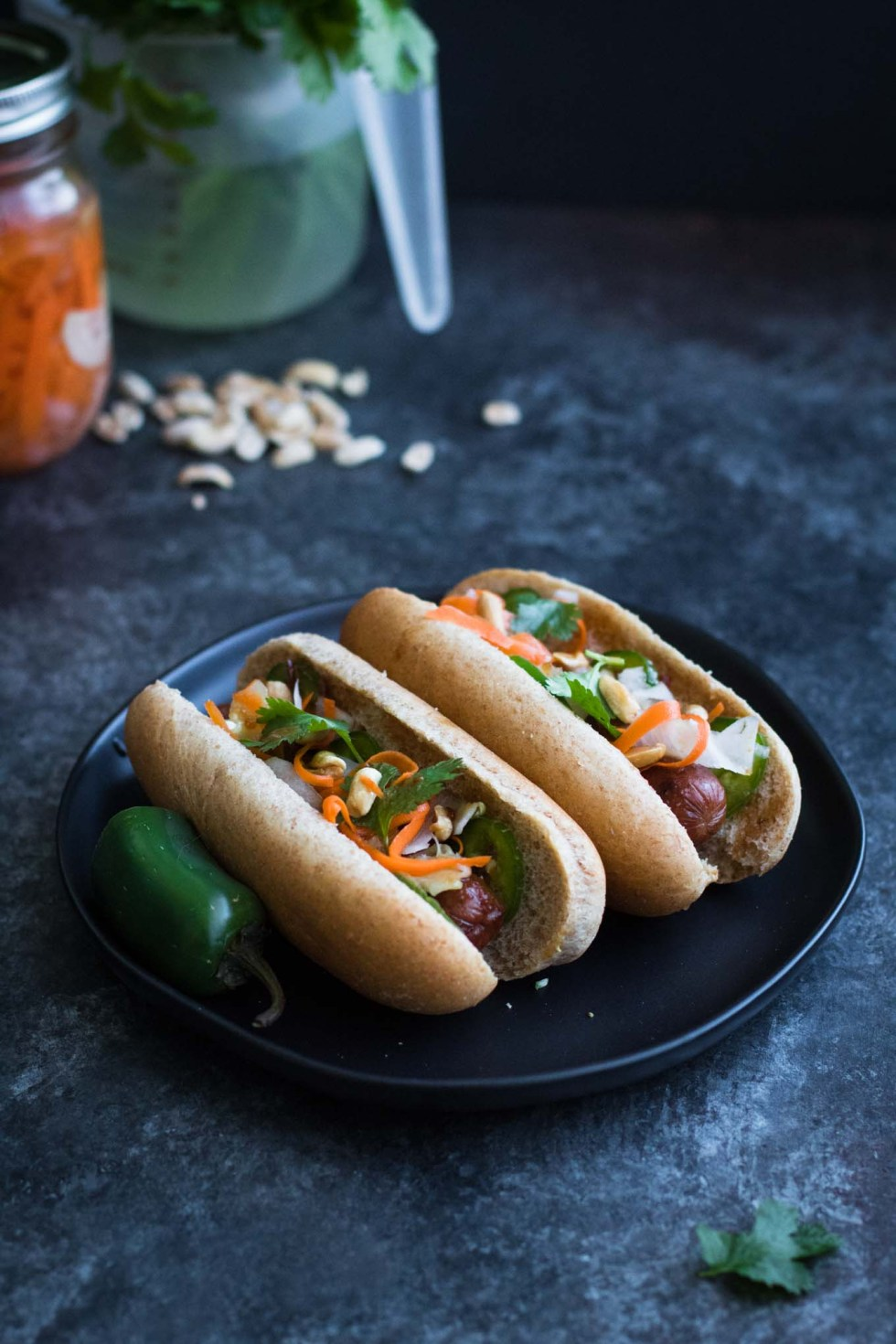 Bahn Mi Hot Dogs | Vietnamese Style | Pickled Daikon | Hoisin Sauce | Dinner