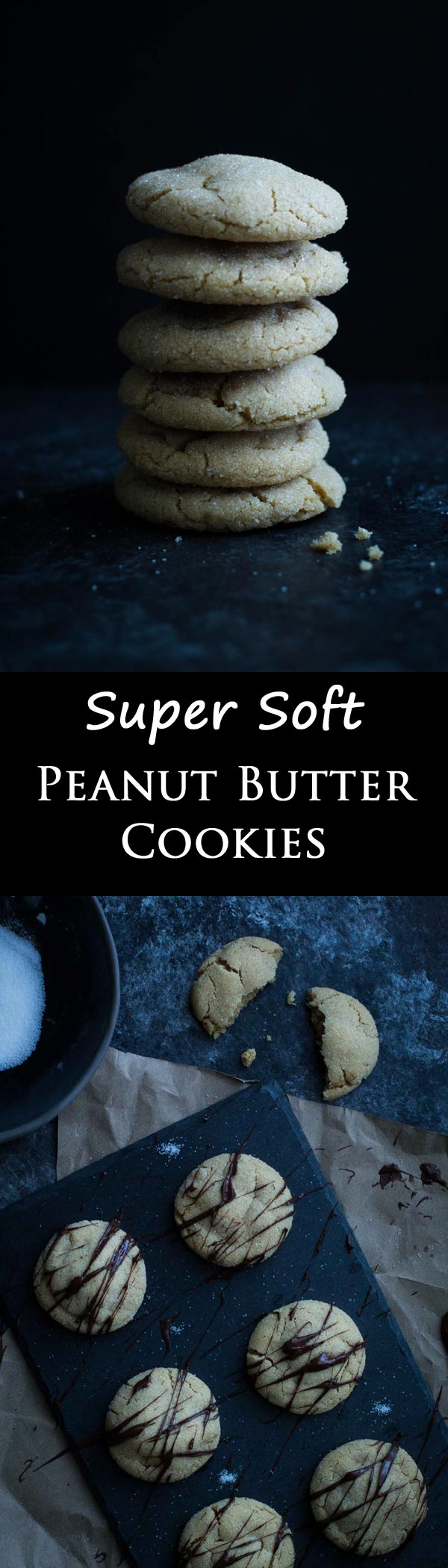 Soft Peanut Butter Cookies - a recipe perfect for baking at home! Roll them in sugar and dip them in chocolate for a special treat!