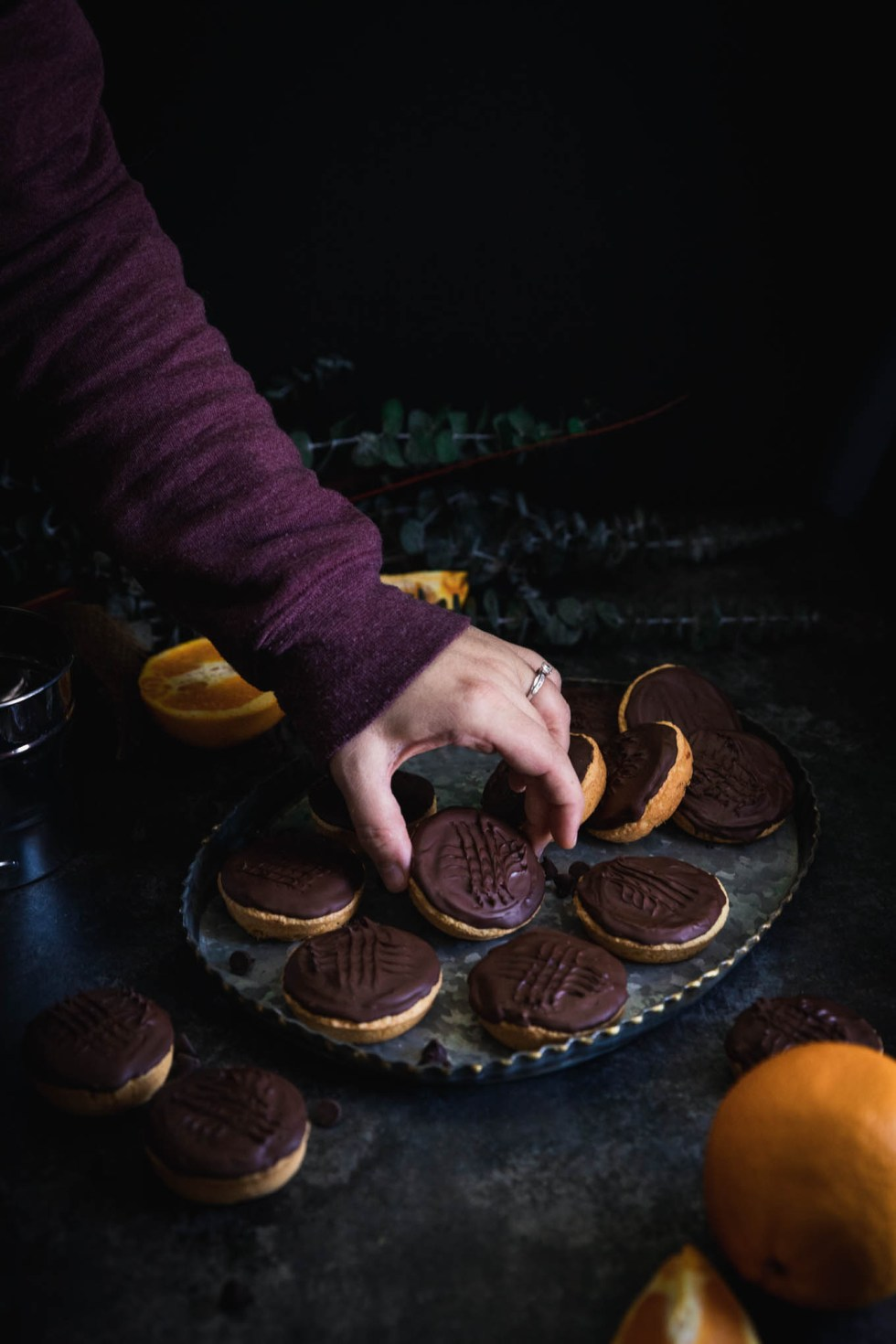 Jaffa Cakes on a hammered metal tray