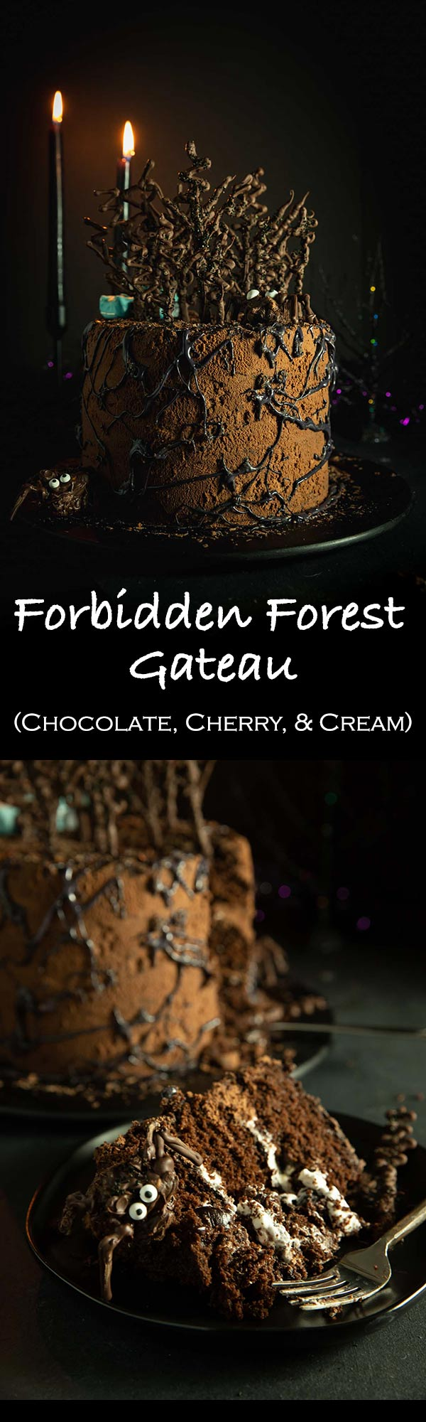 This homemade black forest cake is filled with cherries and themed after the Harry Potter Forbidden Forest! Look out for spiders and the Weasley's fondant car!