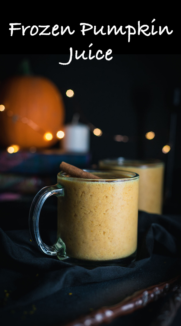 Be transported to the Hogwarts kitchens! This frozen pumpkin juice recipe is inspired by Harry Potter Land's pumpkin juice. Icy, sweet, and lightly pumpkin spiced, this julius is lots of fun!