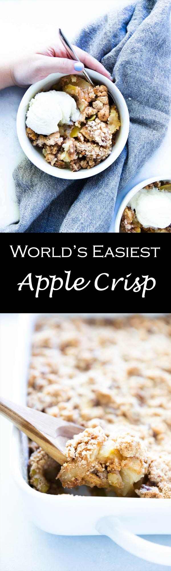 This easy recipe for apple crisp is made without oats and has perfectly baked apples and crunchy clumps of cinnamon-sugar goodness!