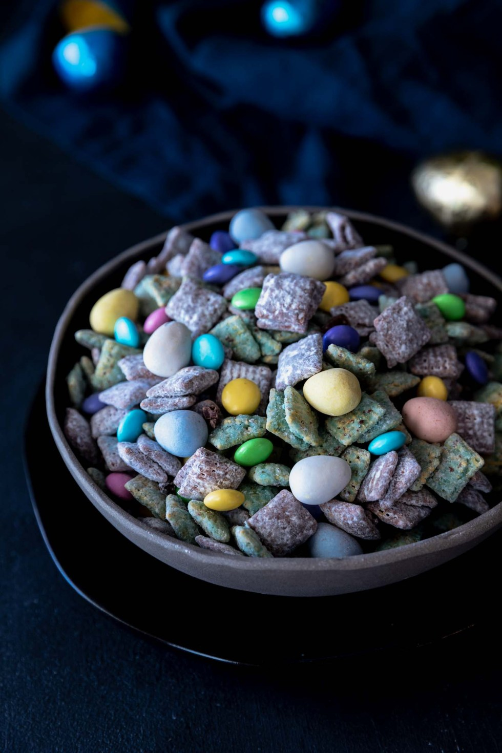Bowl overflowing with easter bunny chow or puppy chow