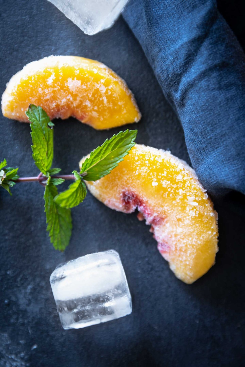 Frozen peaches garnished with mint